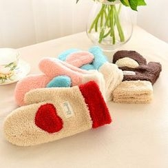 VANDO - Heart-Accent Fleece Half Mittens
