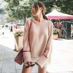 Queen Bee - Contrast Stripe Slit Sweater