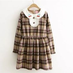 Citree - Cherry Embroidered Collar Plaid Long-Sleeve Dress