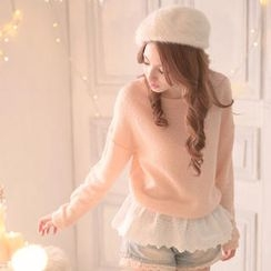 Tokyo Fashion - Eyelet Lace-Hem Sweater