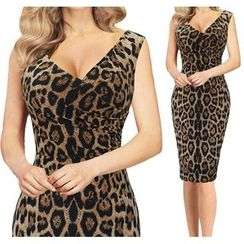 Forest Of Darama - Leopard Print V-Neck Bodycon Dress