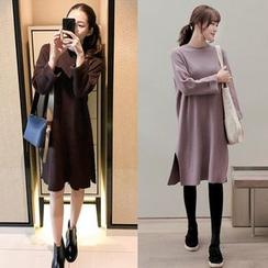 Seoul Fashion - Drop-Shoulder Wool Blend Knit Dress
