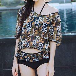 小桃泳衣 - 套裝: 荷葉邊掛脖比基尼泳裝 + 外罩衫