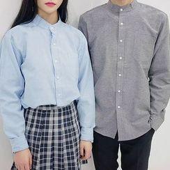 Seoul Homme - Couple Mandarin-Collar Cotton Shirt