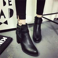 楊董 - 粗跟尖頭及踝靴