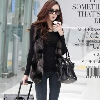 SHINN - Faux-Fur Front Knit Vest