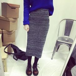 monroll - Melange Midi Knit Skirt