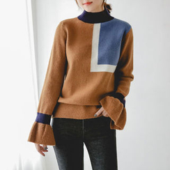 JUSTONE - Mock-Neck Ruffle-Cuff Color-Block Sweater
