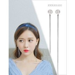 soo n soo - Faux-Pearl Silver Drop Earrings