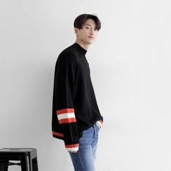 Seoul Homme - Mock-Neck Stripe-Trim Knit Top