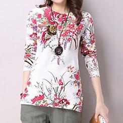 chic n' fab - Floral Print Long-Sleeve T-Shirt