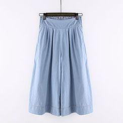 Heybabe - Denim Wide-leg Pants
