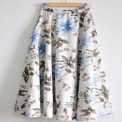 Floral Elegance - Print Linen Maxi Skirt