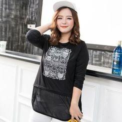 Amizi - Sheer Hem Long-Sleeve T-Shirt