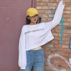RASA - Lettering Cropped Long-Sleeve T-Shirt