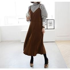 Miamasvin - Spaghetti-Strap Faux-Suede Panel Pleated Long Dress