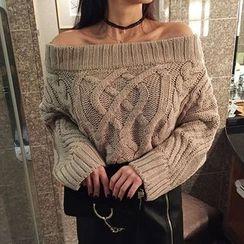 Seoul Fashion - Off-Shoulder Chunky-Knit Sweater