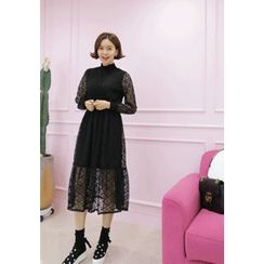 Lemite - Mock-Neck Lace Midi Dress