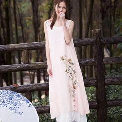 Salisha - Maternity Floral Print Maxi Tank Dress