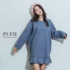 PUFII - Ruffle Hem Denim Dress