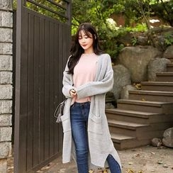 Seoul Fashion - Dip-Back Buttoned Long Cardigan