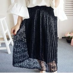 Ranche - Accordion Pleat Lace Skirt