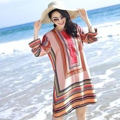 Hazie - Patterned Long-Sleeve Chiffon Dress