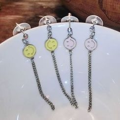 Ticoo - Smiley Face Chain Earrings