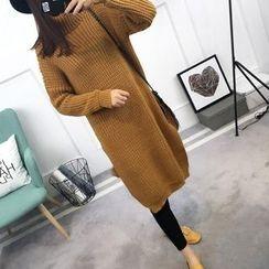 Asally - 高領寬鬆長款毛衣