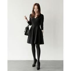 UPTOWNHOLIC - Wrap-Front A-Line Knit Dress