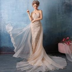Coeur Wedding - Lace Strapless Mermaid Evening Gown with Train