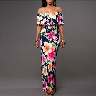 Charlotte - Off-Shoulder Layered Printed Maxi Dress