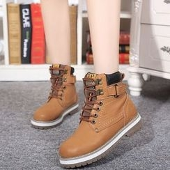 Yoflap - Buckled Lace Up Boots