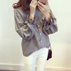 兰芝 - 条纹结带袖口衬衫