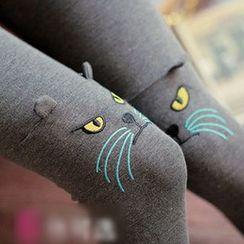 Daisyfield - 貓刺繡內搭褲