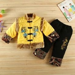 KUBEBI - Kids Set: Chinese Flurry Jacket + Pants + Beanie