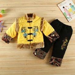 KUBEBI - 童装套装: 中式毛绒夹克 + 裤 + 无边帽