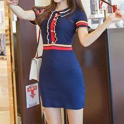 Aurora - Contrast Stripe Frilled Knit Sheath Dress