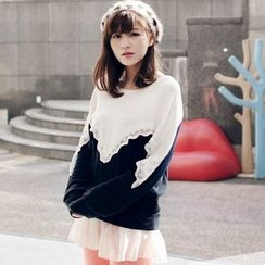 OrangeBear - Color-Block Lace-Trim Knit Top
