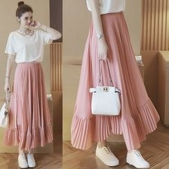 Mida - Pleated Maxi Skirt