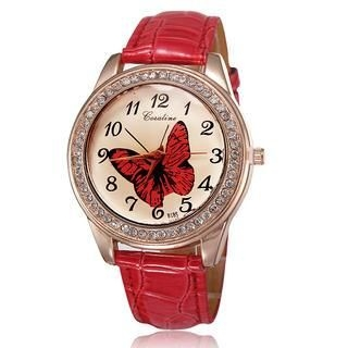 Miss Girl - Croc-Grain Rhinestone Strap Watch