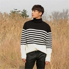 BYMONO - Mock-Neck Stripe Wool Blend Sweater