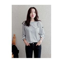maybe-baby - Striped Cotton T-Shirt