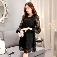 Ceres - Maternity Long-Sleeve Lace Dress