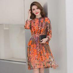 Sienne - Printed 3/4 Sleeve Chiffon Dress