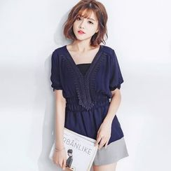 Tokyo Fashion - Short-Sleeve Crochet-Trim Top
