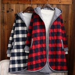 tete - Check Hooded Buttoned Coat