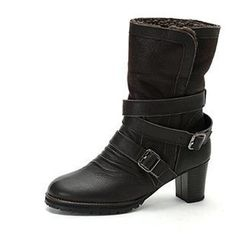 MODELSIS - Buckled-Detail Faux-Shearling Boots
