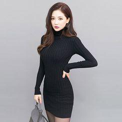 chuu - Turtle-Neck Rib-Knit Bodycon Dress