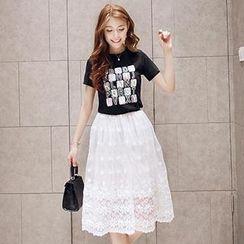 Munai - Set: Short-Sleeve Lettering T-Shirt + Lace A-Line Midi Skirt